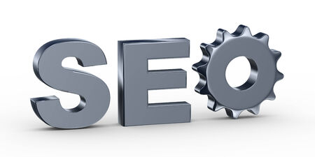 3d illustration of gear in abbreviation seo - Search engine optimization Stock Photo
