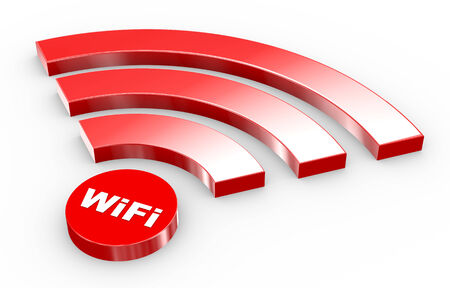 wi fi: 3d illustration of wifi icon on white background