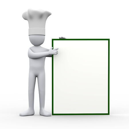 3d illustration of cook man pointing his finger to empty white blank board.  3d rendering of human people character. illustration
