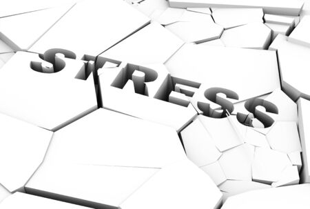 financial condition: 3d illustration of word stress on cracked and destroy floor.