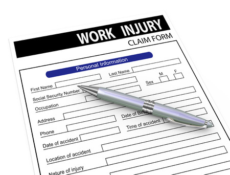 3d illustration of pen over work injury compensation claim form. illustration