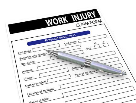 incident: 3d illustration of pen over work injury compensation claim form.