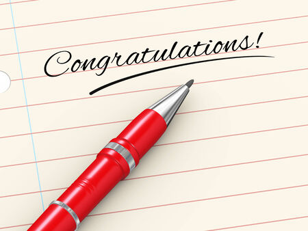 congratulations word: 3d render of pen on paper written congratulations Stock Photo