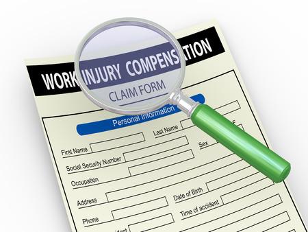 3d illustration of magnifier hover over work injury compensation claim form