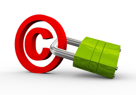 copyright symbol: 3d illustration of copyright protection symbol and pacdlock. Stock Photo