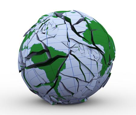 断片化し、ひびの入ったグローブ地球世界の 3 d イラストレーション