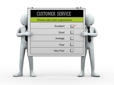 3d illustration of men holding customer service satisfaction survey form.  3d rendering of human people character. illustration