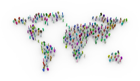 global village: 3d illustration of different colorful people standing on world earth map. Concept of global village, people network and communication. Stock Photo