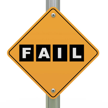 abort: 3d illustration of yellow roadsign of fail