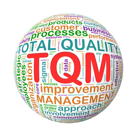 3d Illustration of ball of wordcloud word tags of tqm - total quality management illustration