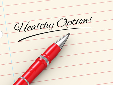 natural health: 3d render of pen on paper written healthy option Stock Photo