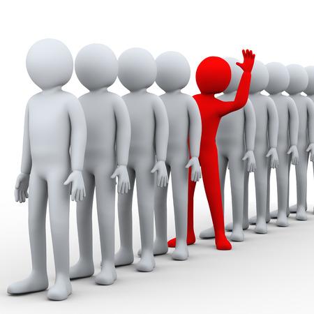 3d illustratie van de unieke rode persoon intensivering van rij van mensen. 3D-weergave van het menselijk mensen karakter.