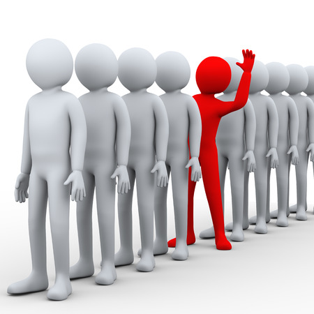 3d illustration of unique red person stepping out from row of people.  3d rendering of human people character. Stock Photo