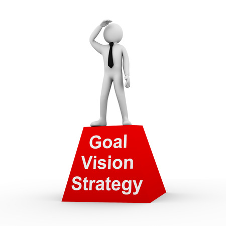 setting goal: 3d illustration of businessman looking for goal  3d rendering of human people character and concept of goal setting, strategy, vision and planning for success
