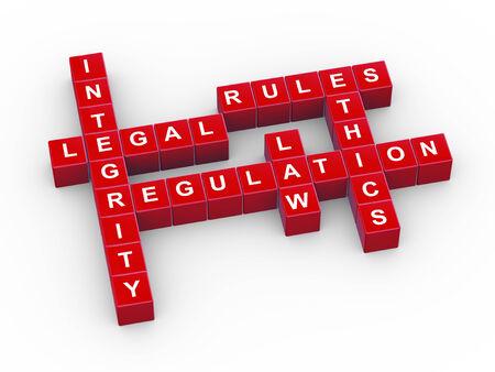 etica: 3d ilustración de crucigramas concepto de presentación de las normas, legales y de orden inferior