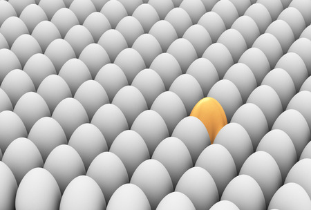 standing out from the crowd: 3d illustration of unique golden egg among white eggs  Concept of standing out from crowd