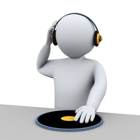 disk jockey: 3d illustration of dj disk jockey person mixing.  3d rendering of human people character. Stock Photo