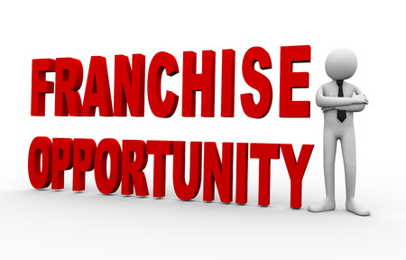 franchise: 3d Illustration of man standing with text franchise opportunity. 3d rendering of people - human character. Stock Photo