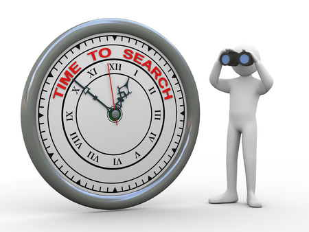 3d illustration of person with binocular standing with time to search clock. 3d rendering of human people character. illustration
