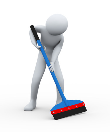 wipe: 3d illustration of cleaner man with floor wiper at work. 3d rendering of human people character. Stock Photo