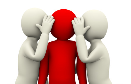 whispering: 3d illustration of men secret whispering to unique red person. 3d rendering of human people character.