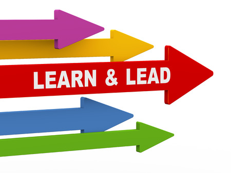 3d illustration of leading red arrow having phrase lead and learn, while other arrows are following. concept of leadership, teamwork, uniqueness. Stok Fotoğraf