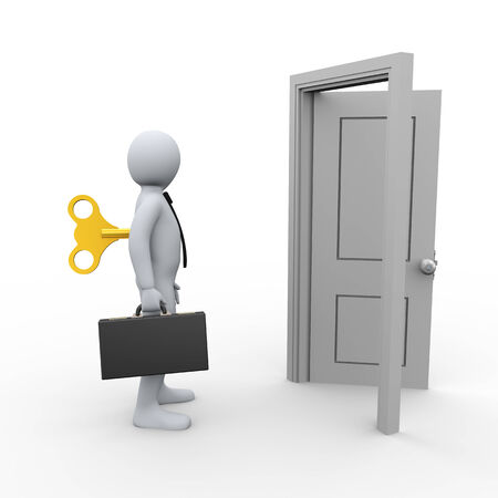 3d illustration of person workclock wind up key and open door.  3d rendering of concept of mechanical busy life - human people character illustration