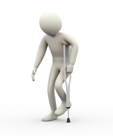 3d illustration of person walkingn with help of sing crutch.  3d rendering of human people character illustration