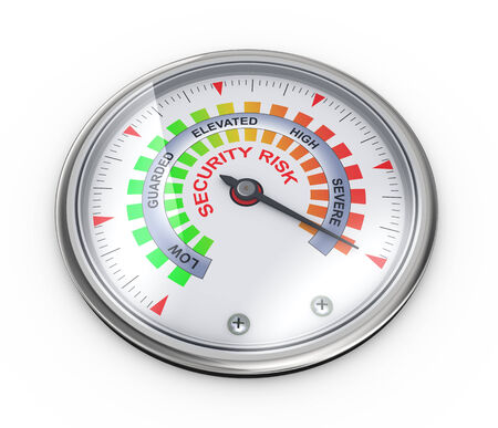 pressure gauge: 3d illustration of guage meter of security risk concept Stock Photo