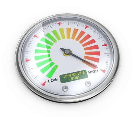 maximize: 3d illustration of guage meter of confidence level.