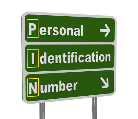 personal identification number: 3d illustration of green roadsign of acronym pinN - personal identification number Stock Photo