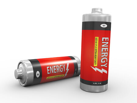 3d illustration of two fully charge batteries on white background Archivio Fotografico
