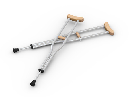 crutches: 3d illustration 3d pair of crutches orthopedic equipment on white background