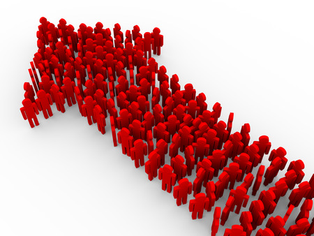 creating: 3d illustration of red people creating arrow shape. Concept of teamwork, leader, leadership, success and growth