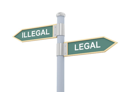 guidepost: 3d illustration of roadsign of words illegal and legal