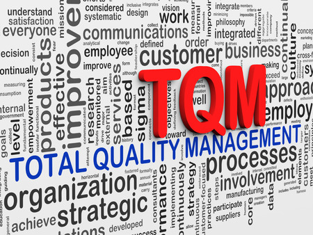 3d Illustration of wordcloud word tags of tqm - total quality management illustration