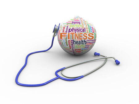 diagnosing: 3d illustration of stethoscope and fitness wordcloud word tags