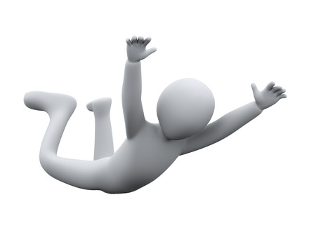 3d illustration of skydiver man falls through the air.  3d rendering of human people character. Stock Photo