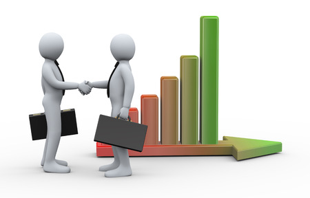 3d Illustration of businessman shaking hands with his business partner on background of growing progress bar on arrow. 3d rendering of human businessman character