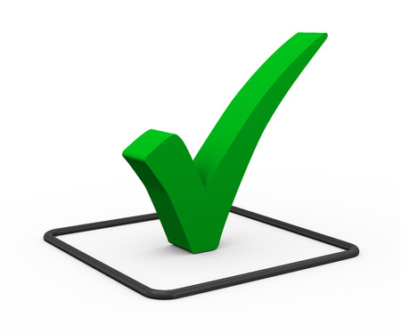 3d Illustration Of Green Right Tick Check Mark Symbol On White