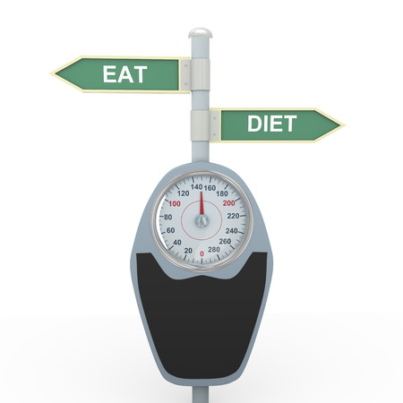 bathroom weight scale: 3d illustration of bathroom weight scale and road sign post of diet and eat. Concept of dieting, exercise and weight loss. Stock Photo