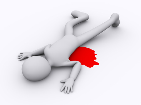 scene of a crime: 3d illustration of murder killed man.  3d rendering of human people character. Stock Photo