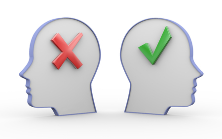 right ideas: 3d illustration of two opposite human heads having correct right tick mark and cross wrong symbol sign.