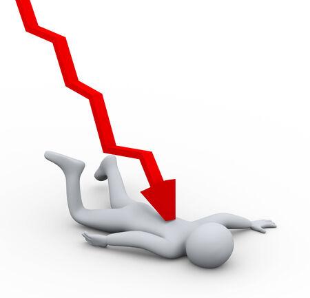 hombre cayendose: 3d ilustración de la caída el hombre golpeado por downword gráfico de flecha. Concepto de crisis financiera y de trabajo en la presión. . Representación 3D de carácter personas humanas.
