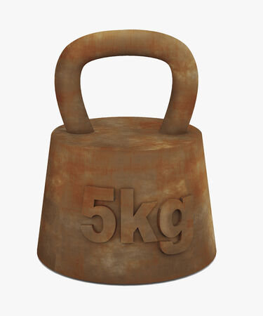 used items: 3d Illustration of old rusty metal weight.