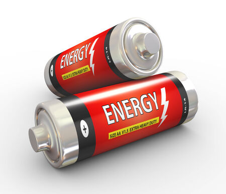 3d illustration of two energy batteries on white background. Archivio Fotografico