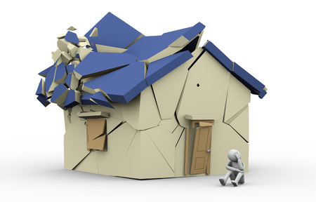 homelessness: 3d illustration of sad crying person sitting near destroyed hhouse. 3d rendering of human character.