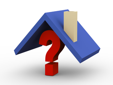 shopping questions: 3d illustration of home roof on question mark symbol. Stock Photo