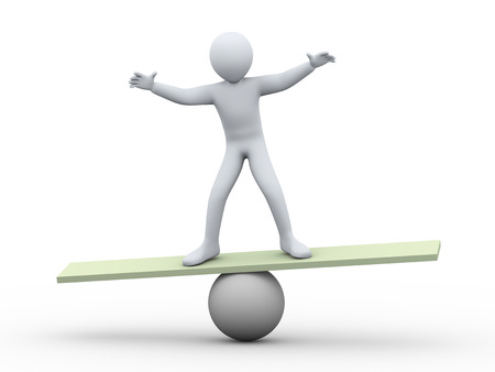 3d illustration of person balancing on ball scale.  3d rendering of human people character