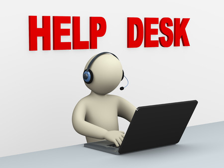 3d illustration of person with headphone using laptop at help desk call center for customer help and support.  3d rendering of human people character illustration